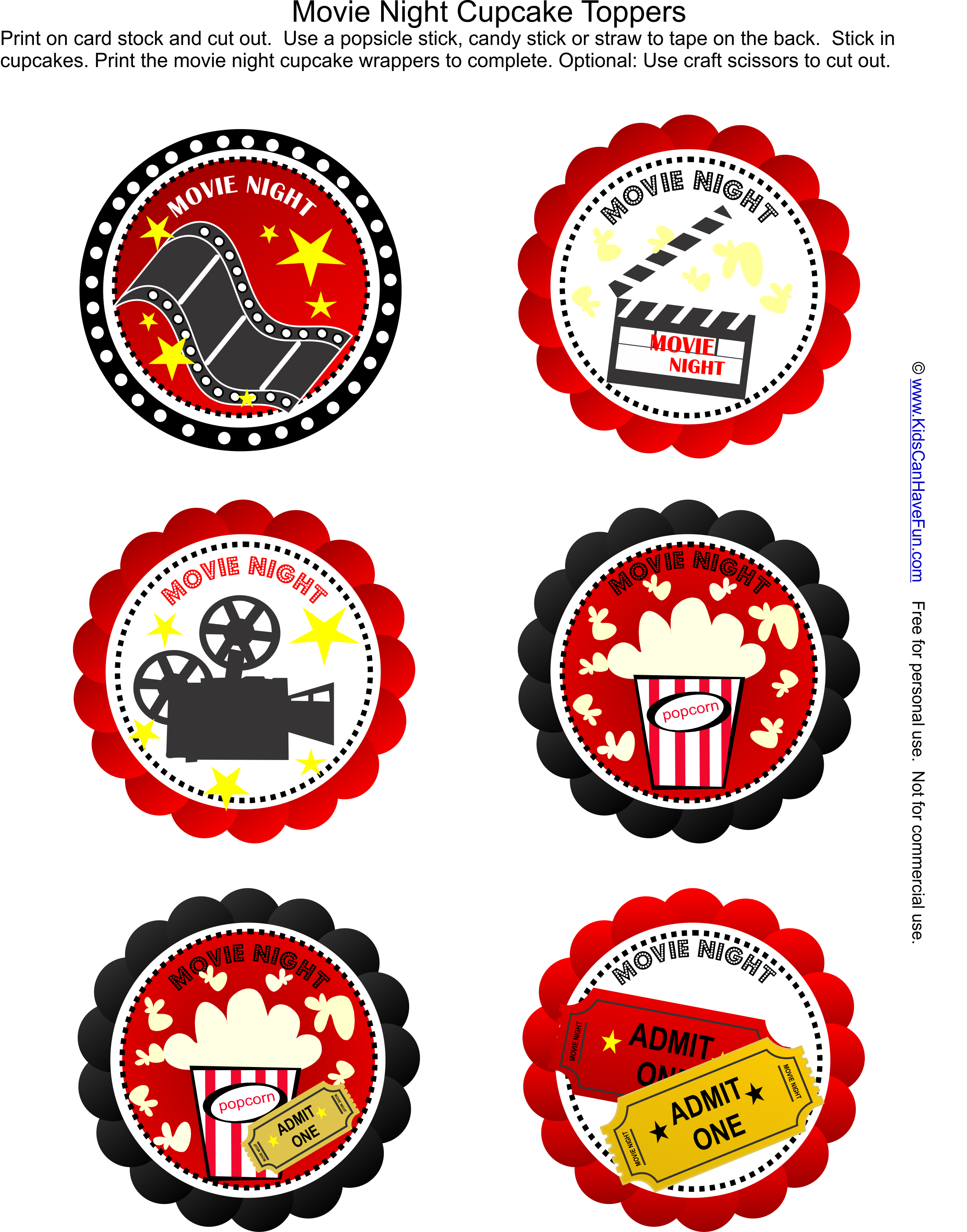 Free Movie Night Party Cupcake Toppers Just Add The Cupcakes Http Www Kidscanhavefun Com Party Planni Movie Themed Party Hollywood Party Theme Movie Night