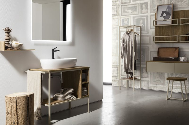 Bagno cerasa effetto legno lavabo in ceramica colonna