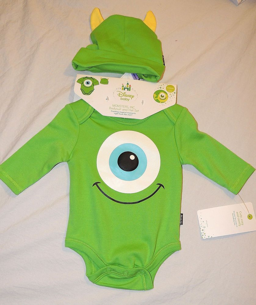 NEW Baby Monsters Inc Mike 2 Piece Set One Piece   Hat 97102ae8152c