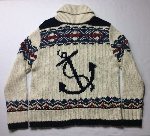 4ded448e9 Vintage-Polo-Ralph-Lauren-Men-Nautical-Sailing-Anchor-Knot-Knit-Sweater -Cardigan