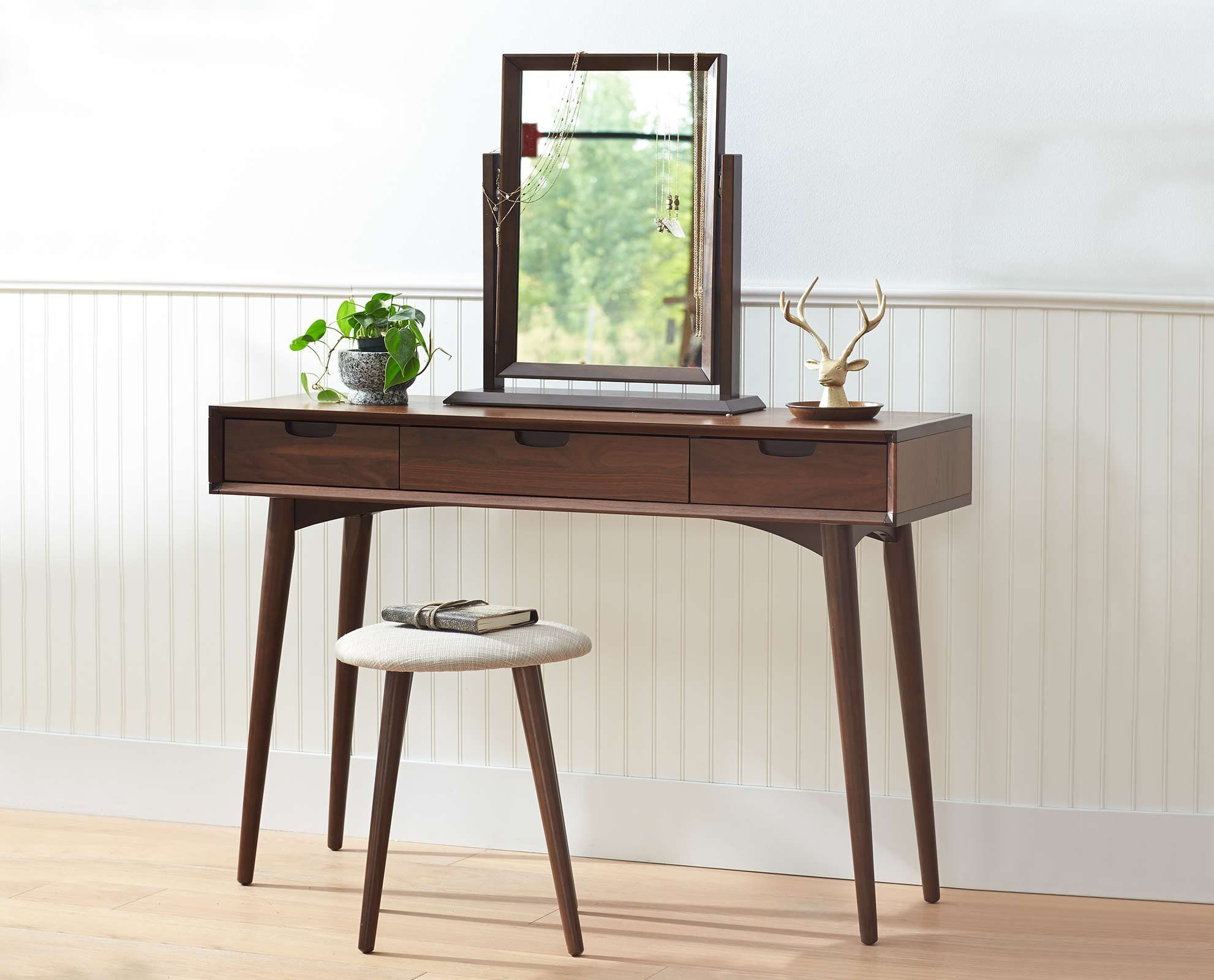 Juneau vanity table vanity tables walnut veneer and vanities