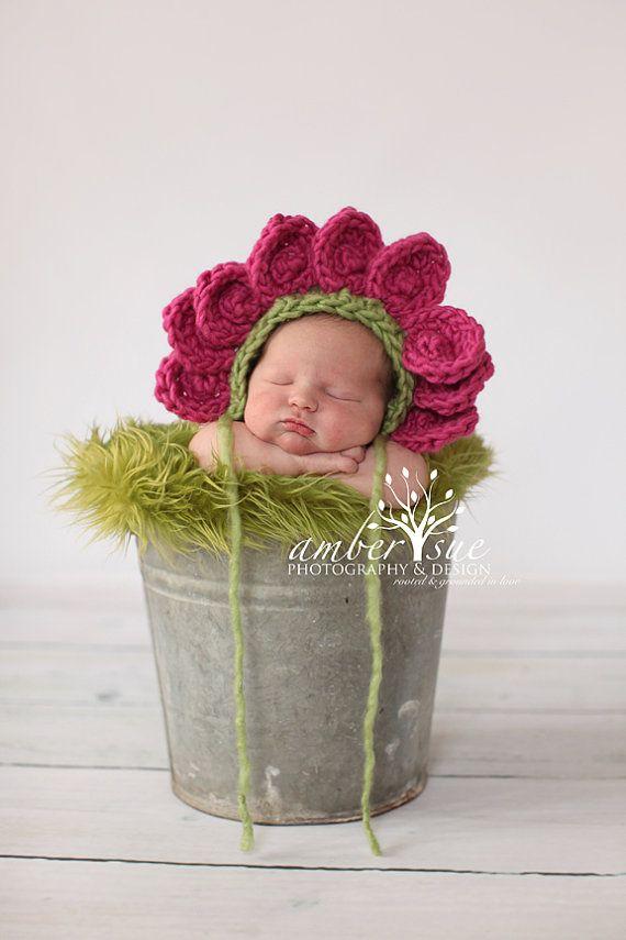 Newborn Baby Flower Bonnet Hat Crochet by PerfectlySweetItems ... 34d0ecbfab08