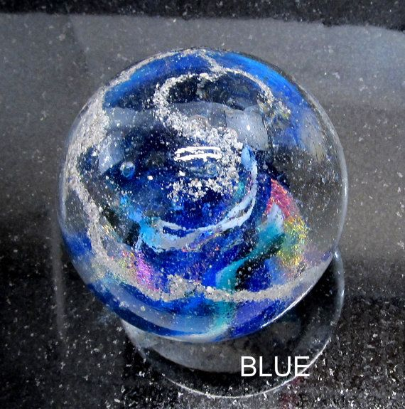 Blue Memorial Cremation Glass Blown Glass Orb Color Swirl Paperweight Pet Ashes Only Glass Blowing Cremation Glass Color Swirl