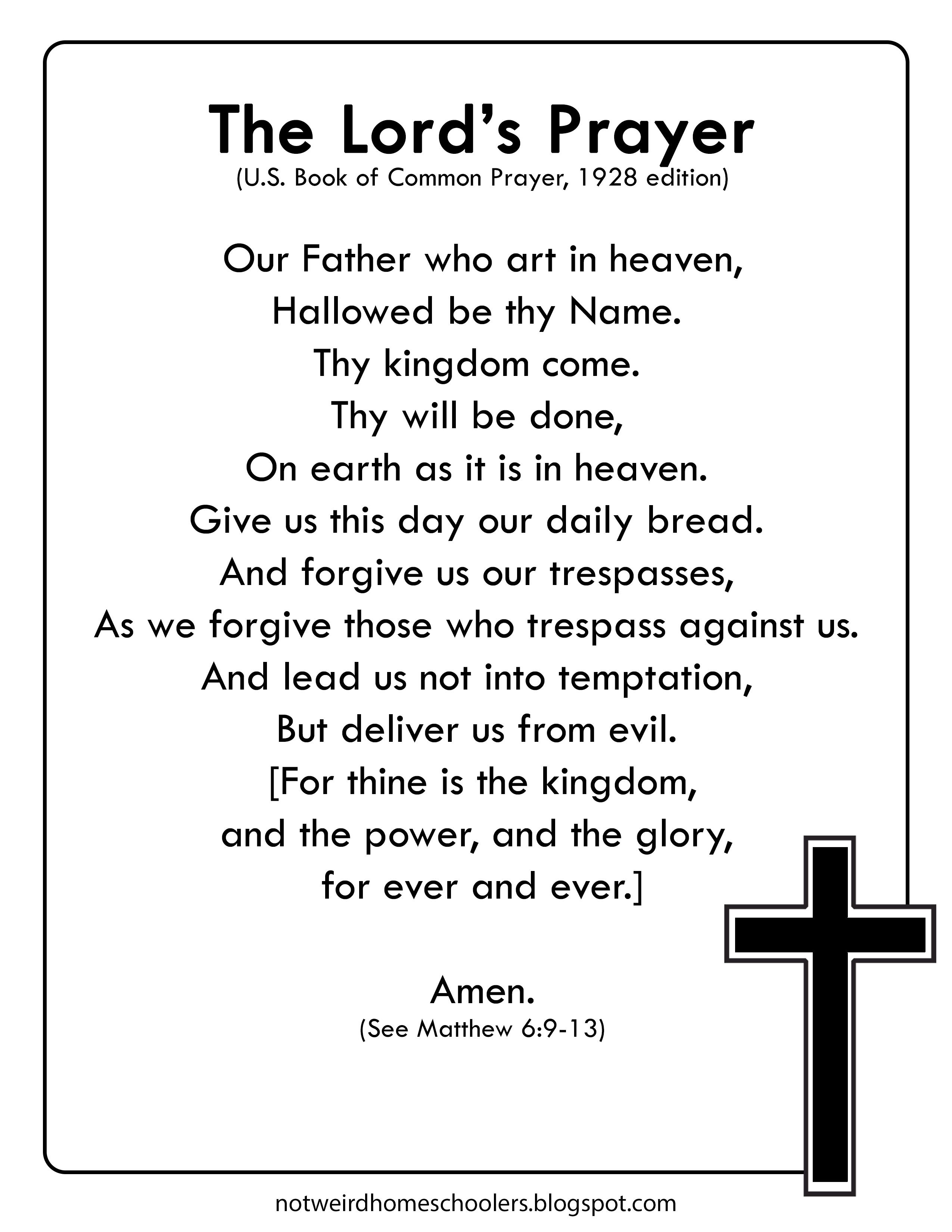 The Lord S Prayer Worksheet This Version Of The Lord S
