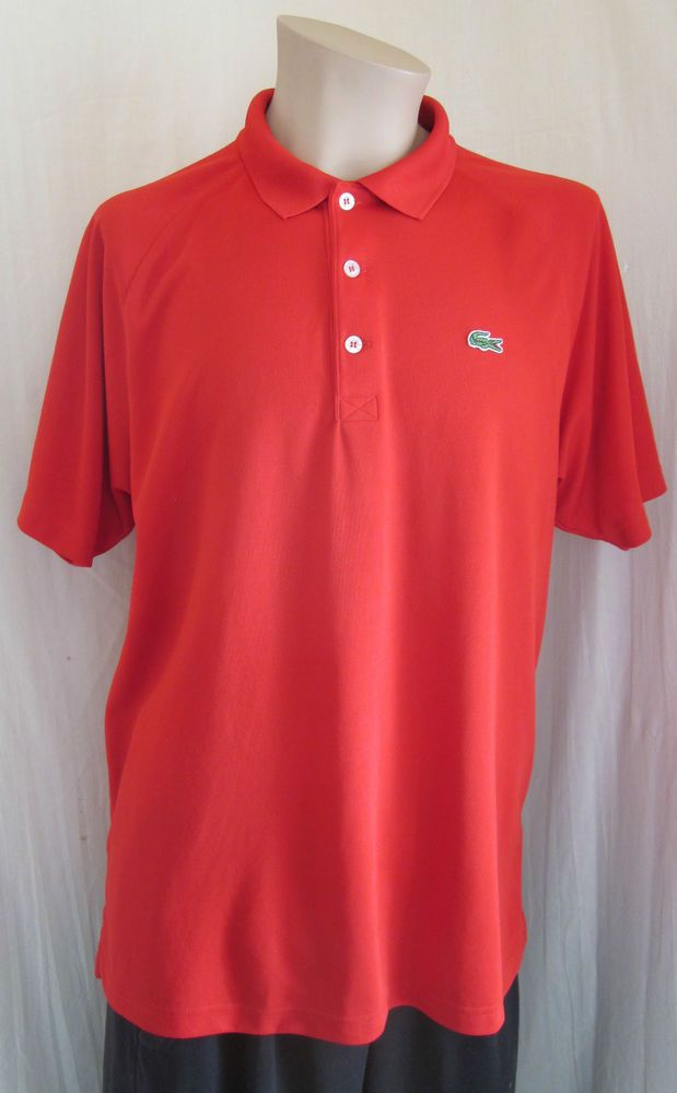 LACOSTE Sport Men's Alligator Red Golf Polo Shirt Size 6 US XL XLarge #Lacoste #PoloRugby