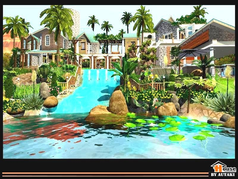 The sims 3 big villa with amazing pool and pond download for Pool design sims 3