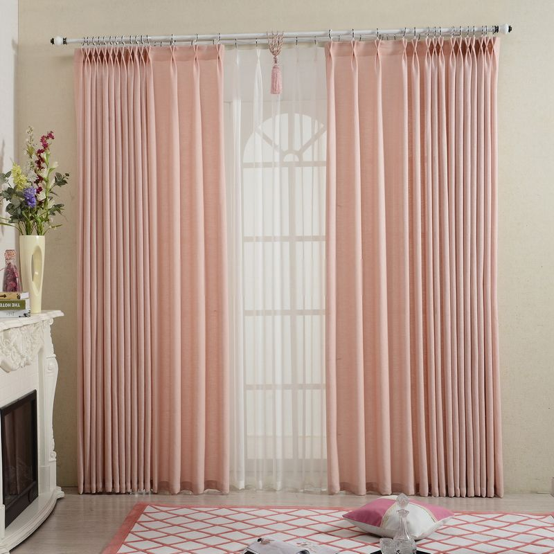 Simple Modern Style Pink Color Linen Curtains Modern Curtains Curtain Styles Curtains Living Room Modern #pink #living #room #curtains