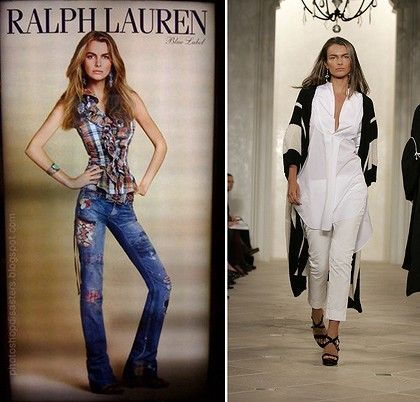 'Overweight' ... the digitally altered Ralph Lauren photo, left, and Filippa Hamilton on the runway for the fashion powerhouse