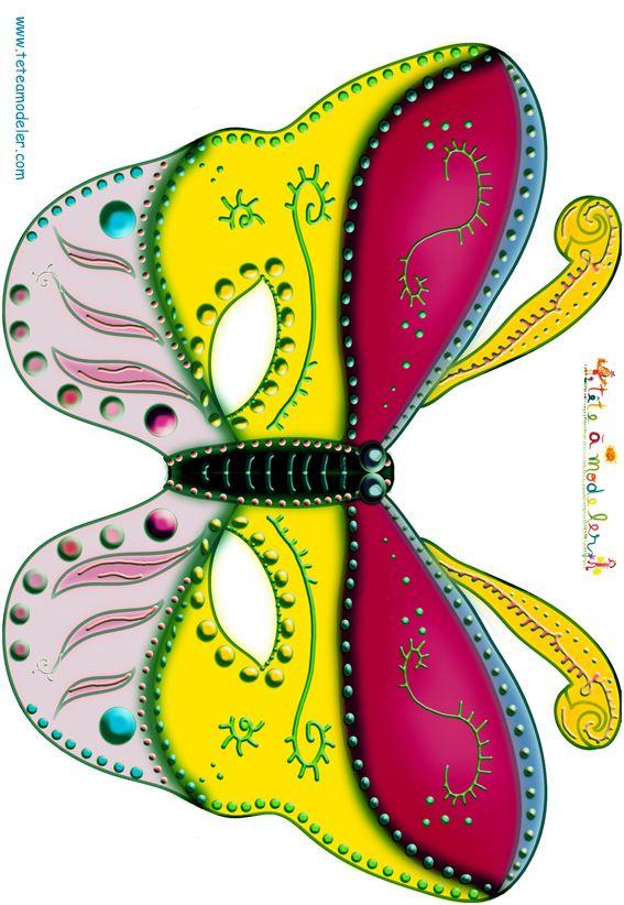 Paper toy masque papillon rouge jaune et rose t te modeler carnaval pinterest - Masque papillon carnaval ...