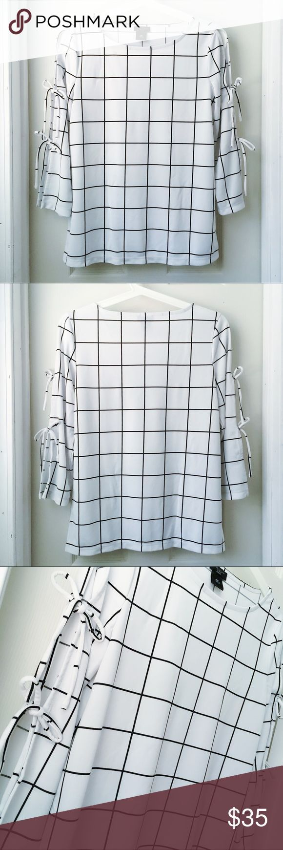 Host Pick Ann Taylor Black  White Grid Blouse New Without Tag on  Host Pick Ann Taylor Black  White Grid Blouse New Without Tag on