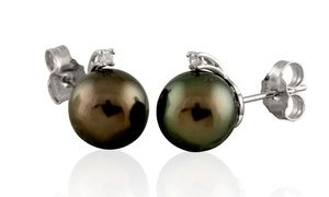 Groupon - Diamond Accent Tahitian Pearl Studs in 14K White Gold. Groupon deal price: $399.99