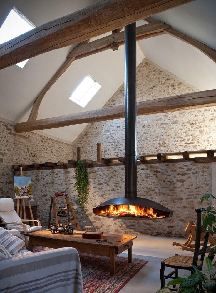 Central hanging steel #fireplace ANTÉFOCUS - Focus ...