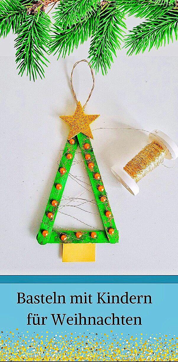 Basteln mit Kindern für Weihnachten einfacher Anhänger für den Tannenbaum