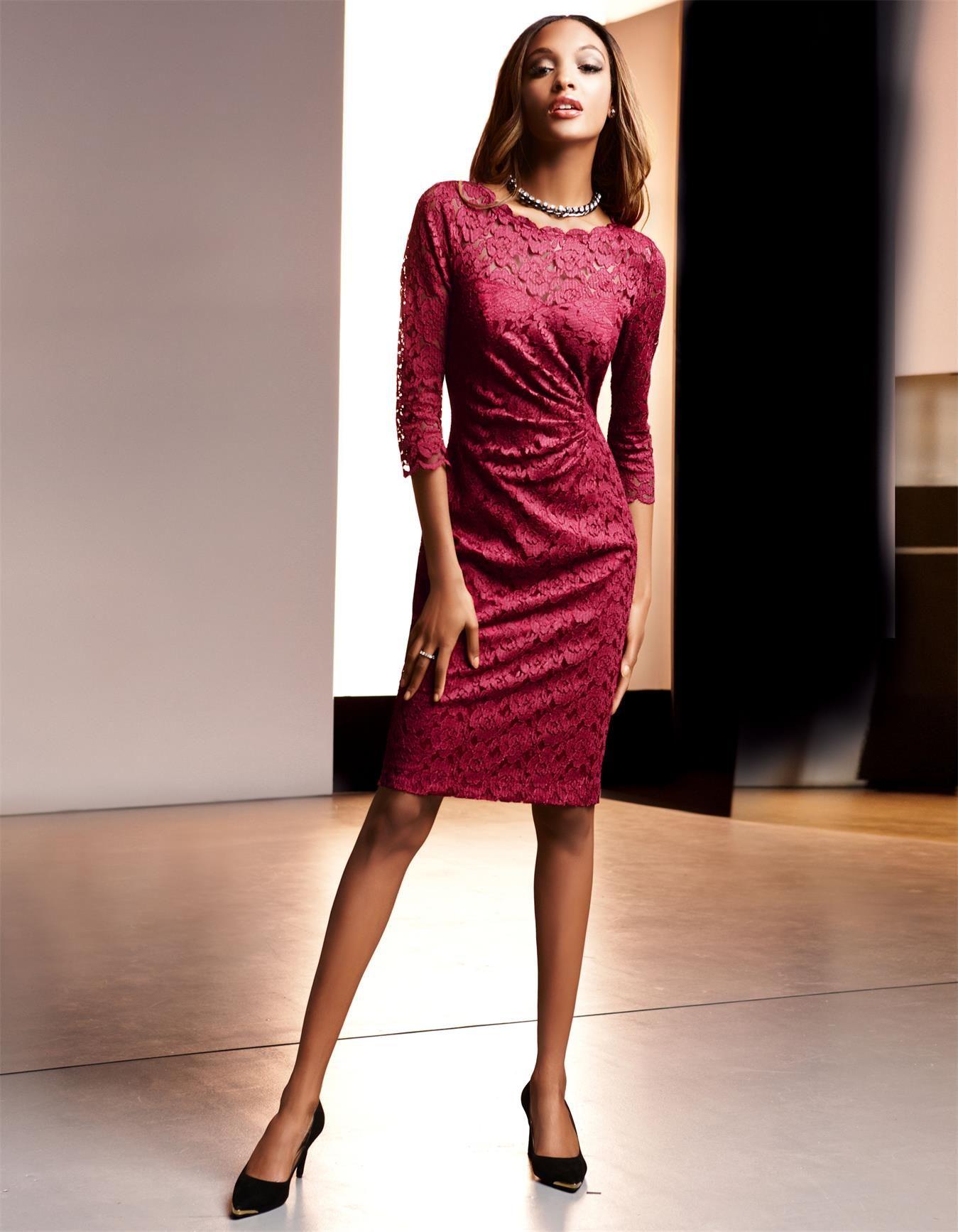 Spitzenkleid, schmal und knielang in der Farbe rubinrot - rot - im ...