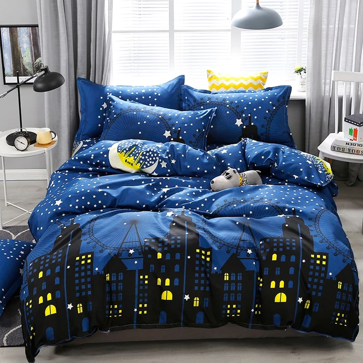 3 4pcs Dark Blue City Night Scene Printing Bedding Set Bed Linings Duvet Cover Bed Sheet Pillowcases Cover Set Dropshipping King Size Bed Linen King Size Bedding Sets Bedding Set