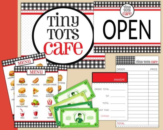 Coffee Shop Play Restaurant Printable