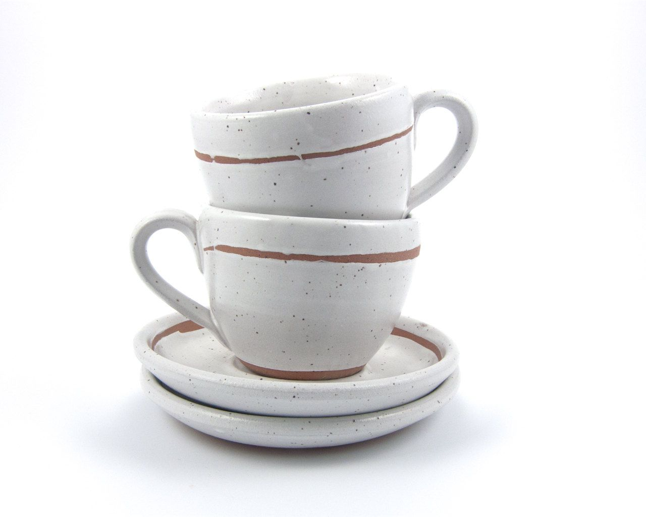 cappuccino cup tea cup and saucer (white with unglazed bands  - cappuccino cup tea cup and saucer (white with unglazed bands) rusticmodern stoneware pottery