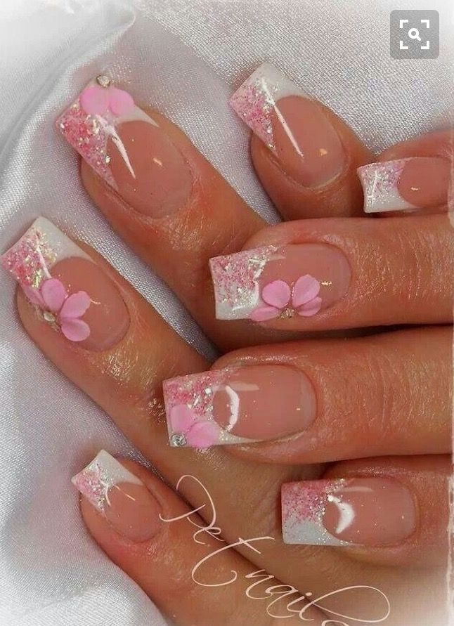 French Glitter Pink Flower Flower Nails Nail Art Designs