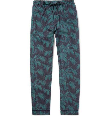 Desmond & Dempsey Printed Cotton Pyjama Shorts - Navy Jo9bOD