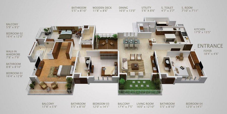 50 Four 4 Bedroom ApartmentHouse Plans House layouts Bedroom