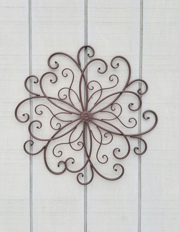Large Metal Wall Art / Large Wrought Iron Wall Decor / Scrolled ...