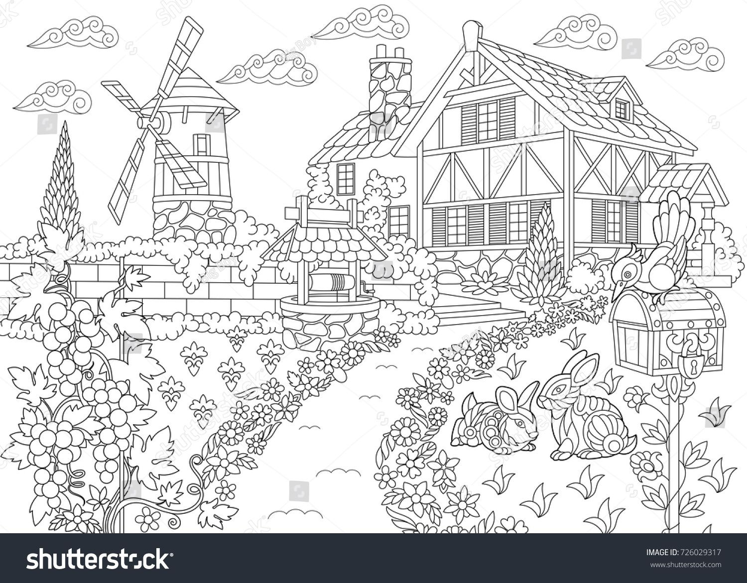 Coloring Page Of Rural Landscape Farm House Windmill Water Well