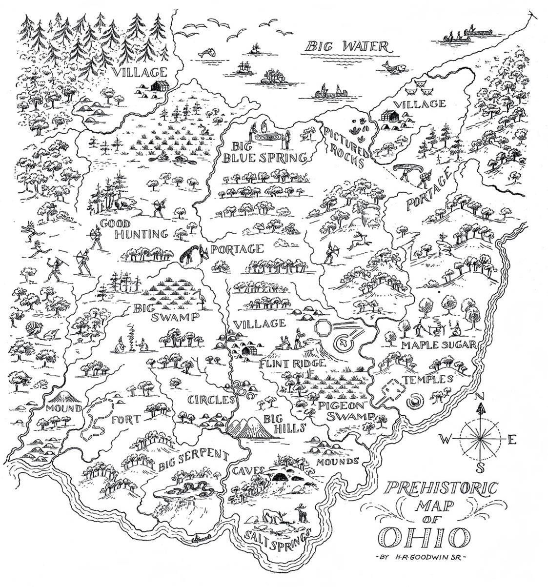 Early Maps Of Ohio PREHISTORIC MAP OF OHIO Prehistoric America - Us map indiana ohio