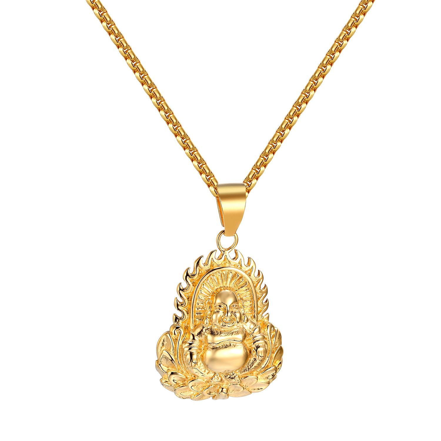 Buddha with flame pendant buddhism gold tone stainless steel