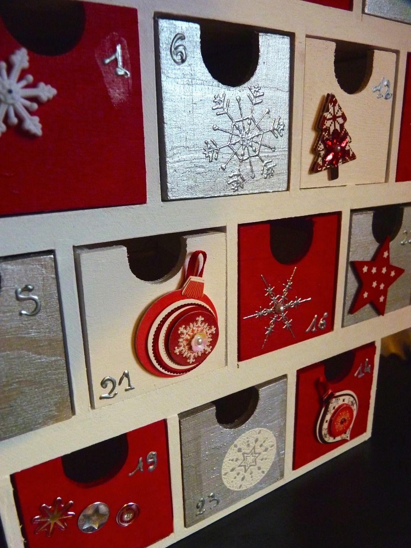 En bois de Noël de l/'Avent Calendrier Maison rustique Light Up