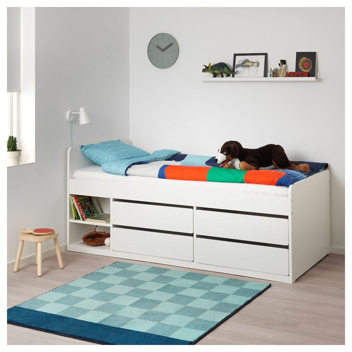 Slakt Bed Frame W Storage Slatted Bedbase White Twin Bedframe