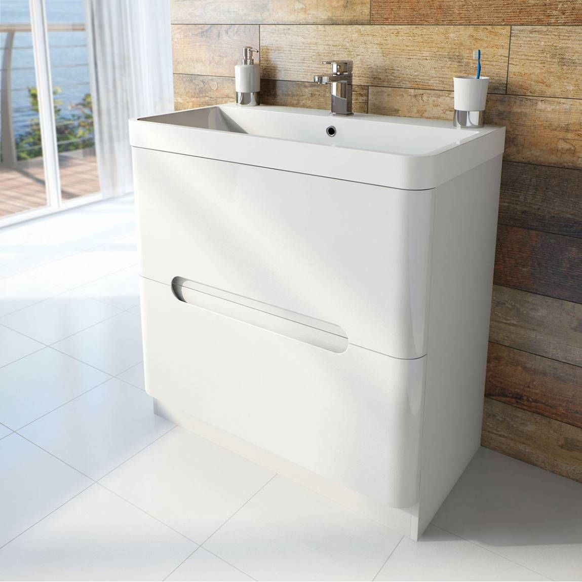 Bathroom Accessories Victoria Plumb planet select white floor mounted 800 drawer unit & basin
