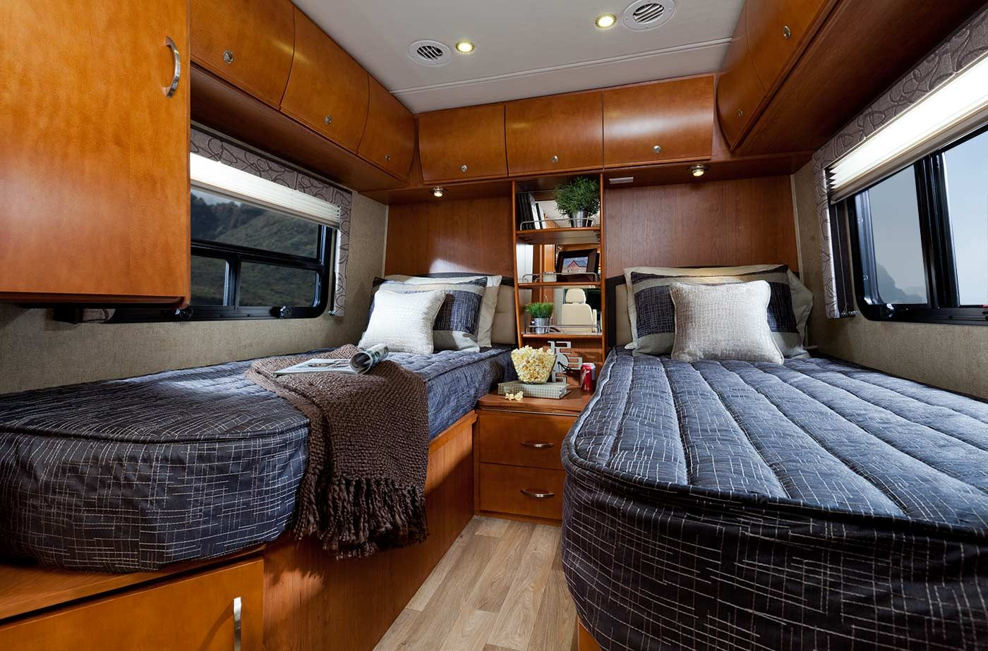 Twin Beds In The Rear Of The U24tb Can Also Be Closed In To Make One Giant Bed Wider Than A