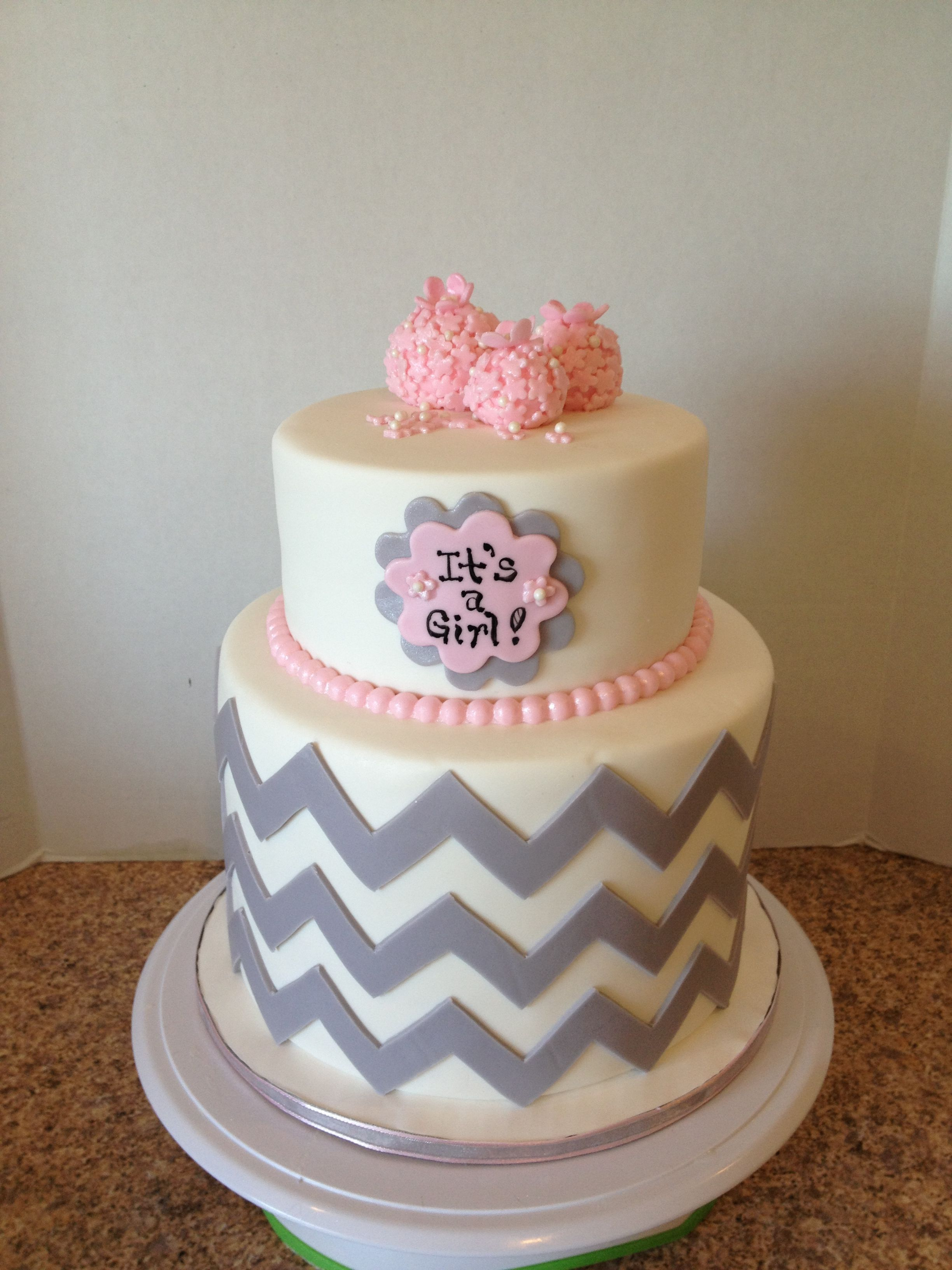 Chevron Baby Shower Cake Bottom Tier Was A Double Barrel Cake 6 Inches Tall The Top Tier Was 4 Inches Tall