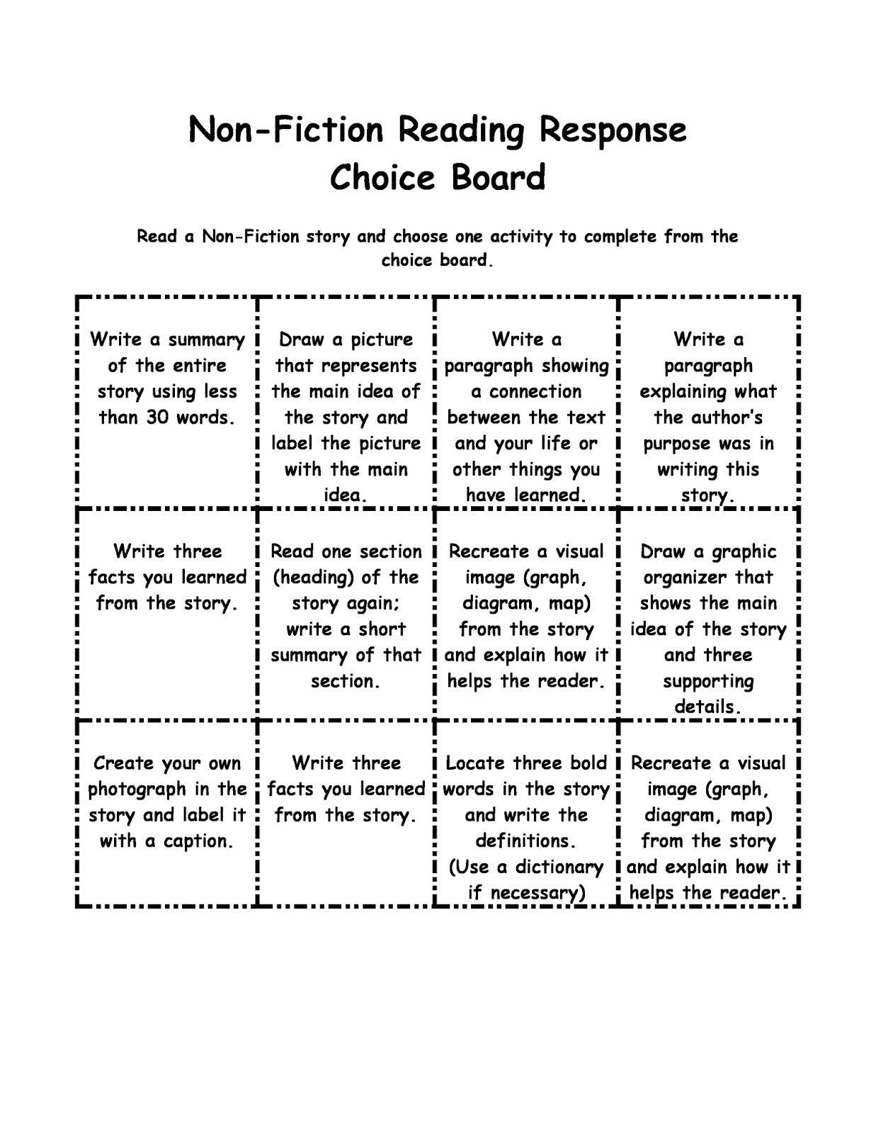 Non Fiction Choice Board