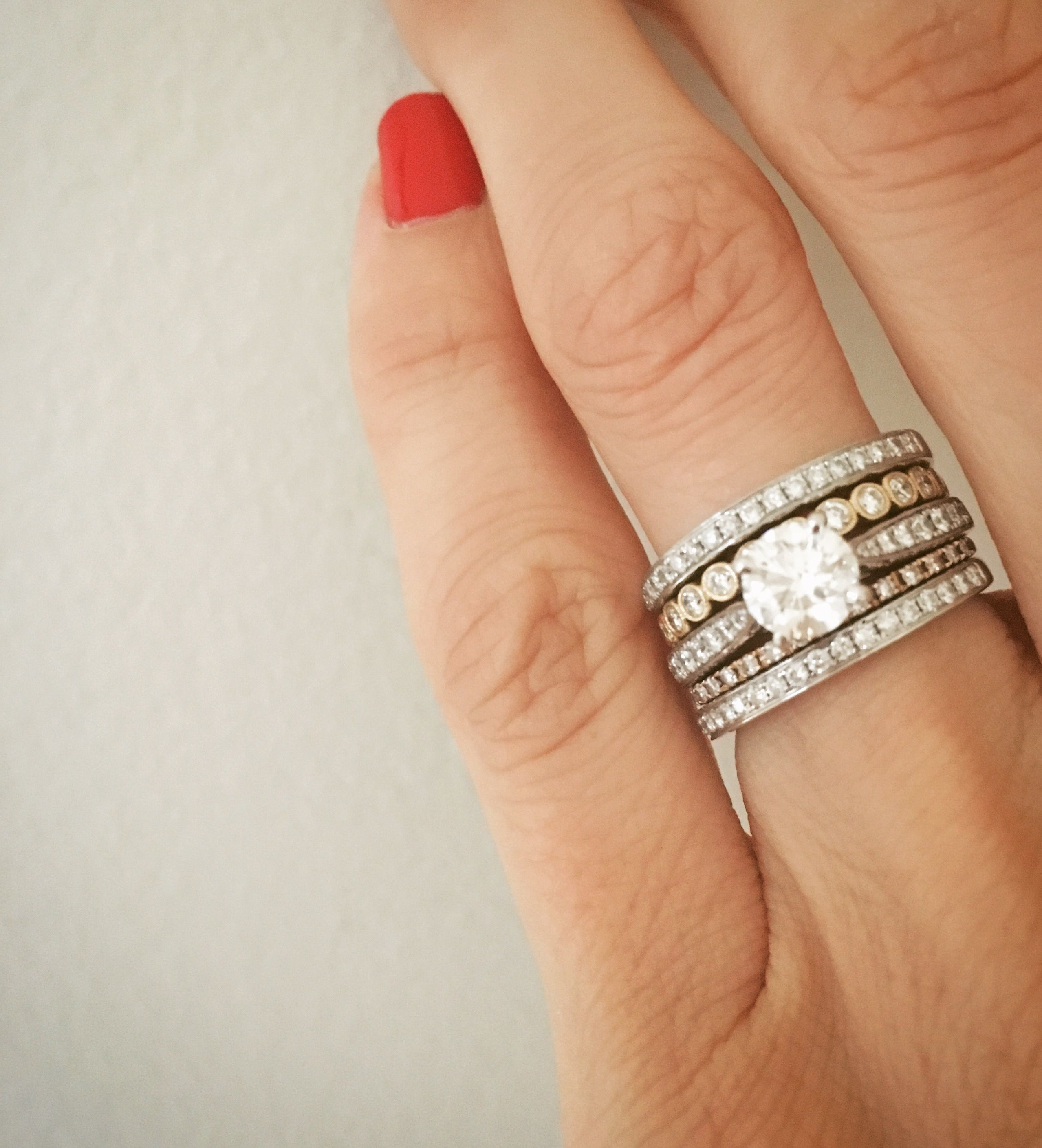 eaae5676fa199 Ring stack. Engagement ring and wedding bands. Stackable rings ...