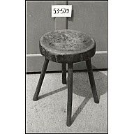 """Stool    1750-1850  Origin: America  OH: 16 1/2""""; OD: 11 1/2""""  Oak  Museum Purchase    Acc. No. 1953-579    Stool: circular, dished top cut from oak plank 2 1/2"""" thick and supported on 4 straight, splayed legs. Traces of old green paint."""