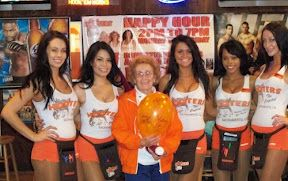 Hahaaa!  Hooters, the best place to take your grandma for Mother's Day!  LOL!  They have a promo of 10 free wings for all moms on their oh so special day.  #wtf