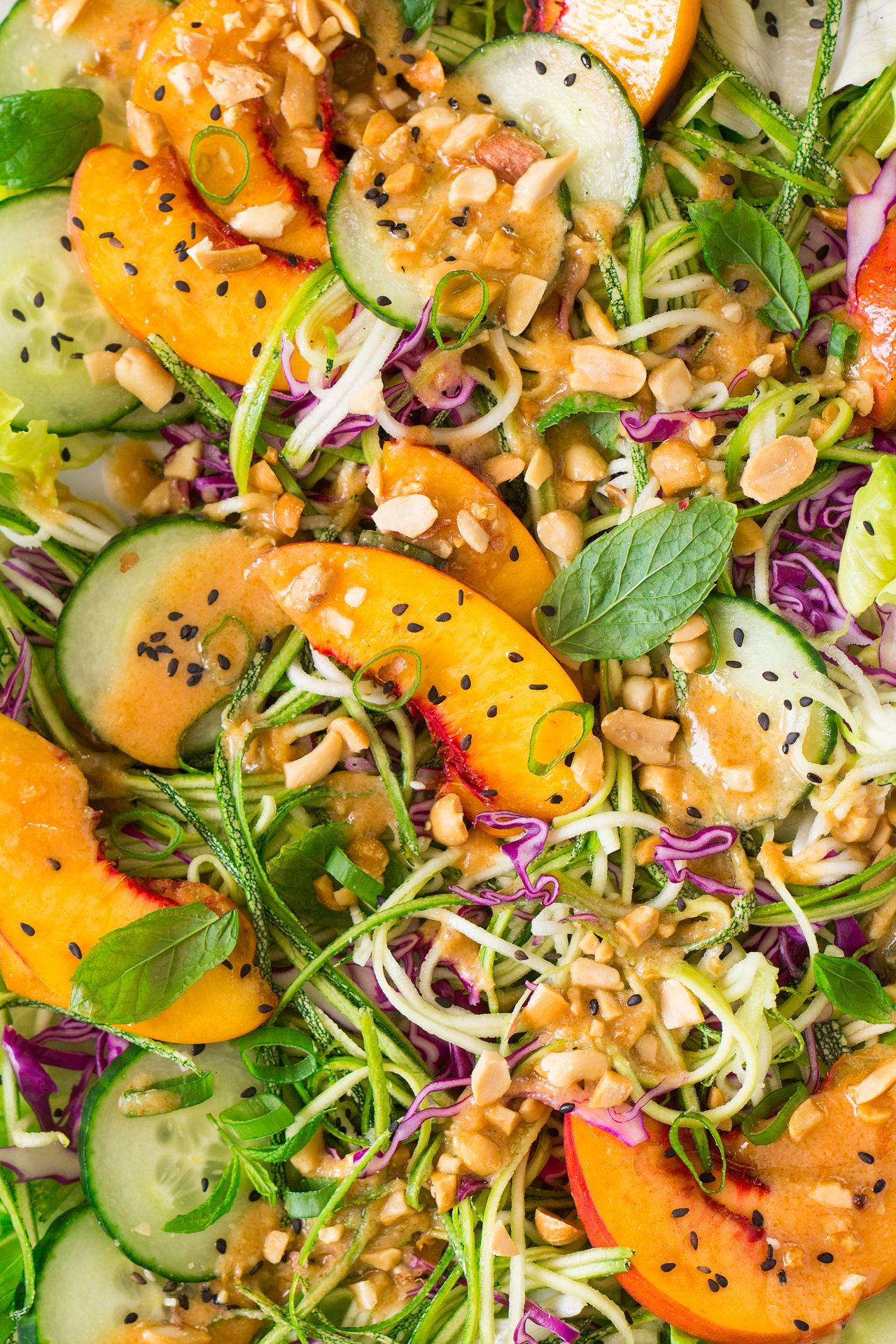 Asian Zucchini Noodle Salad With Vegan Miso Dressing