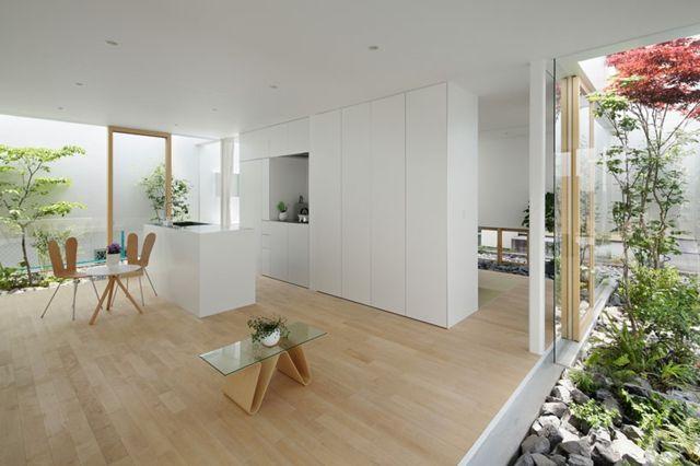 Küche Einrichtung Ideen Japan schlicht elegant Laminatboden - küche neu gestalten ideen