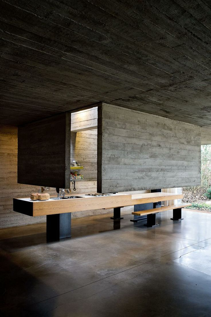 Kitchen island polished concrete floor design space time also tranquil house  brutalist tour de force in suburban japan jaw rh pinterest