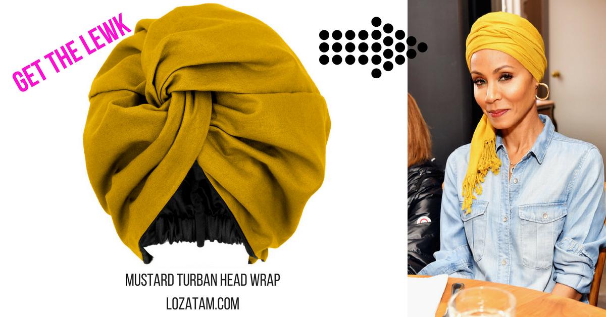 Mustard Yellow Satin-Lined Head Wrap Turban  d99d170d5dd