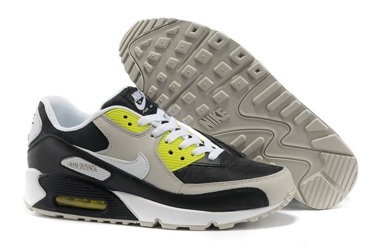 cheaper 25b6a d8a23 Authentique Nike Air Max 90 Essential Noir Blanc Volt Neutral Gris Homme