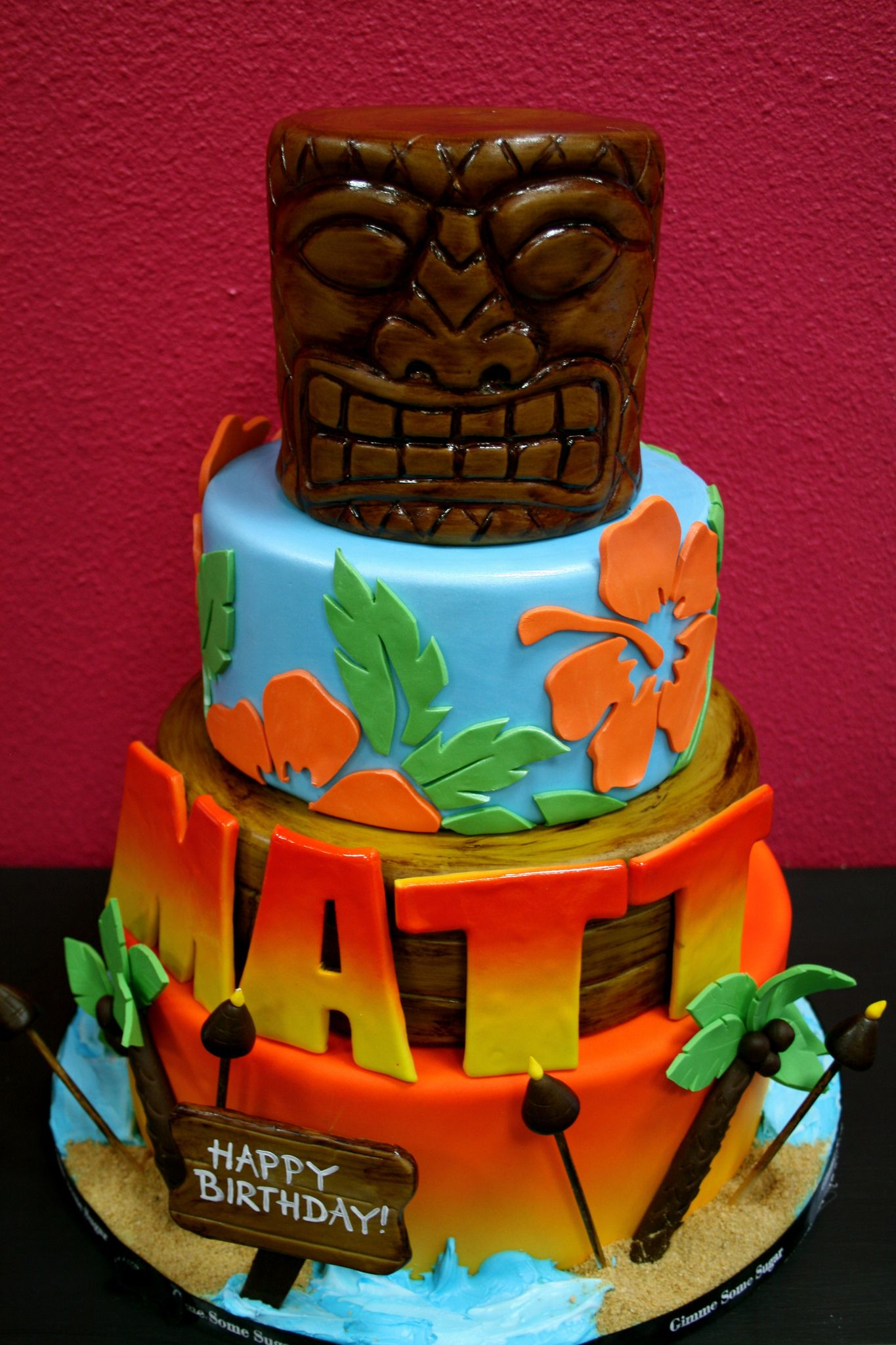 Tiki Birthday Cake