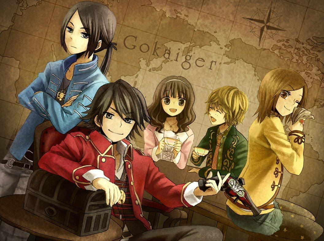 An awesome fan drawing of the Kaizoku Sentai Gokaiger in