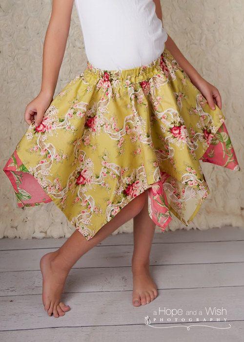 Skirt Pattern for Girls  Handkerchief Skirt Pattern  by tiedyediva, $6.95