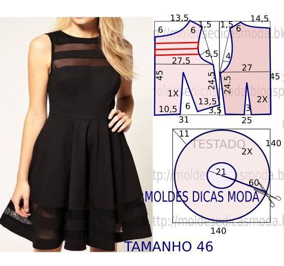 ffa3654a56 MOLDE DE VESTIDO FÁCIL- 69 (Moldes Moda por Medida) | Moldes de ...