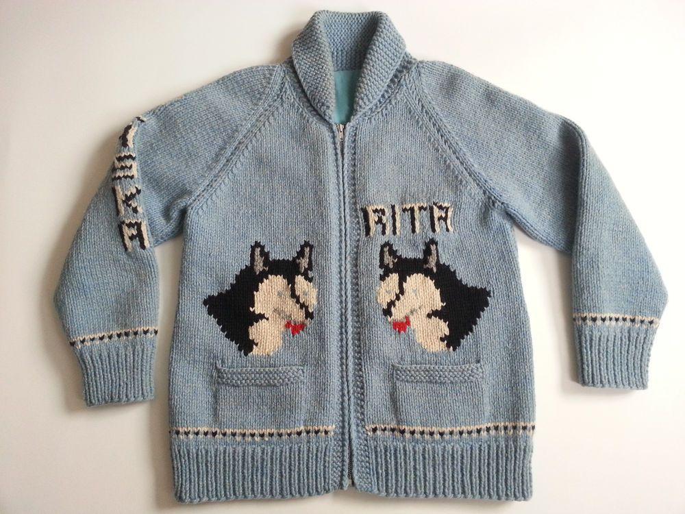 TRUE VTG 40s/50s Cowichan Knit Sweater Alaska Huskies Talon Handmade M L USA