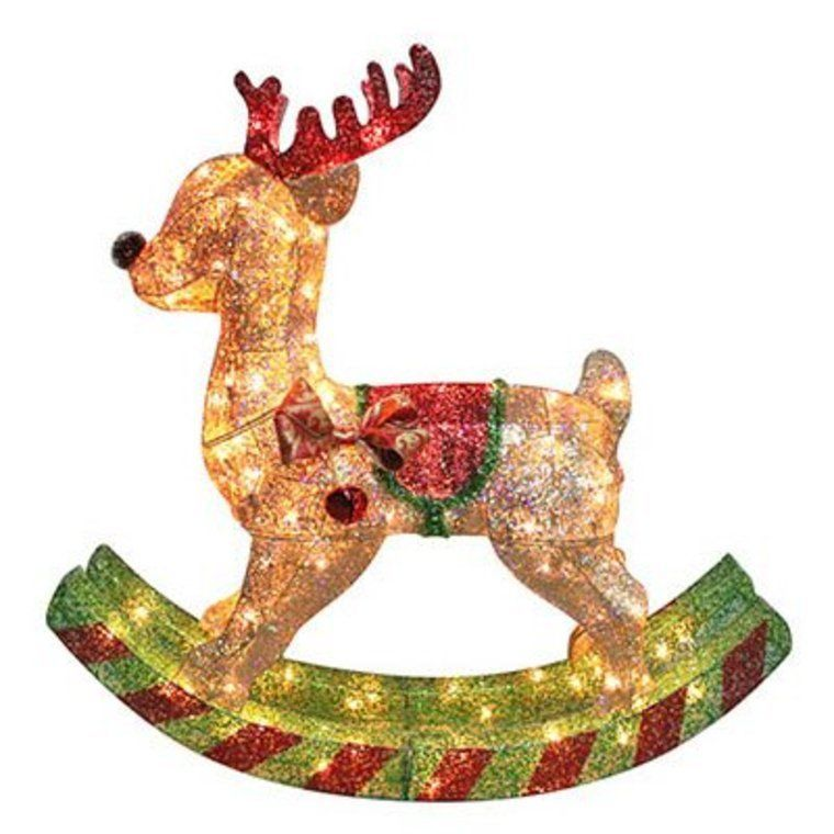 36 christmas rocking horse reindeer gold mesh lighted for Outdoor reindeer decorations