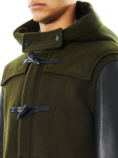 Men's Green Paddington Leathersleeve Duffle Coat | Coats, Leather ...