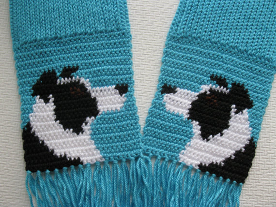 Border Collie Scarf. Turquoise knit and crochet scarf por hooknsaw